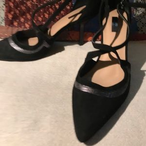 Shoes Strappy Blk Suede Trim Silver Snakeskin look